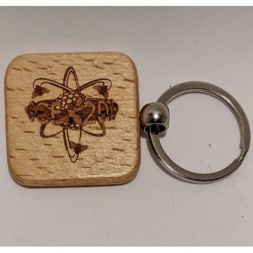 100 Square Wood Keyrings with Logo