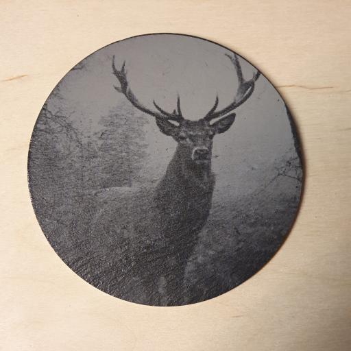 10cm Round Slate Stag Coasters