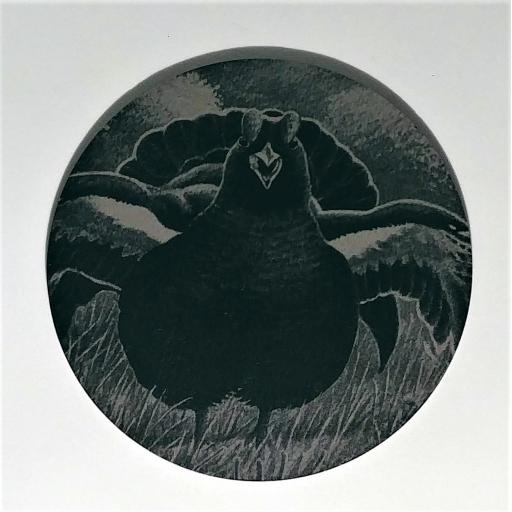 10cm Round Slate Black Grouse Coasters