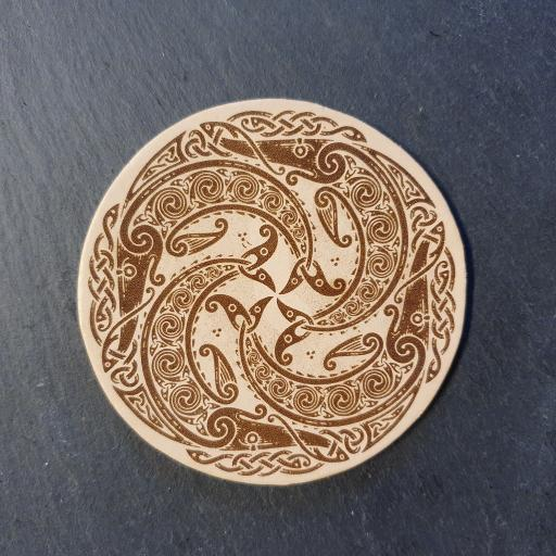 Celtic Salmon Leather Coaster